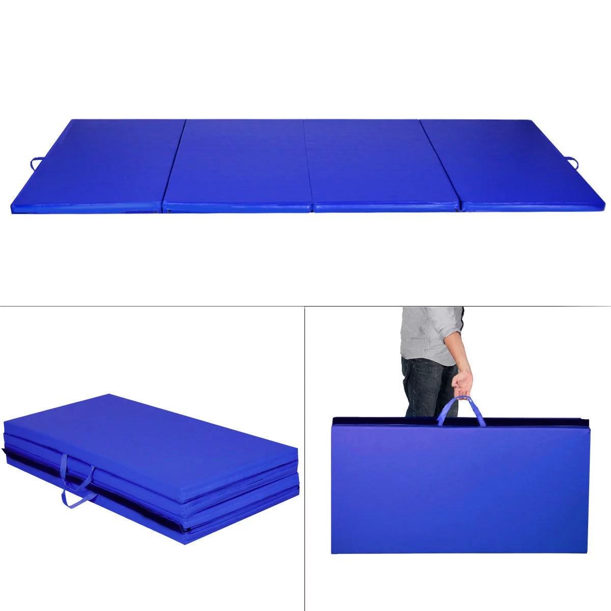 costway tapis de gymnastique pliable 240x120x5cm bleu tapis de yoga pliant tapis musculation matelas gymnastique pliant portable