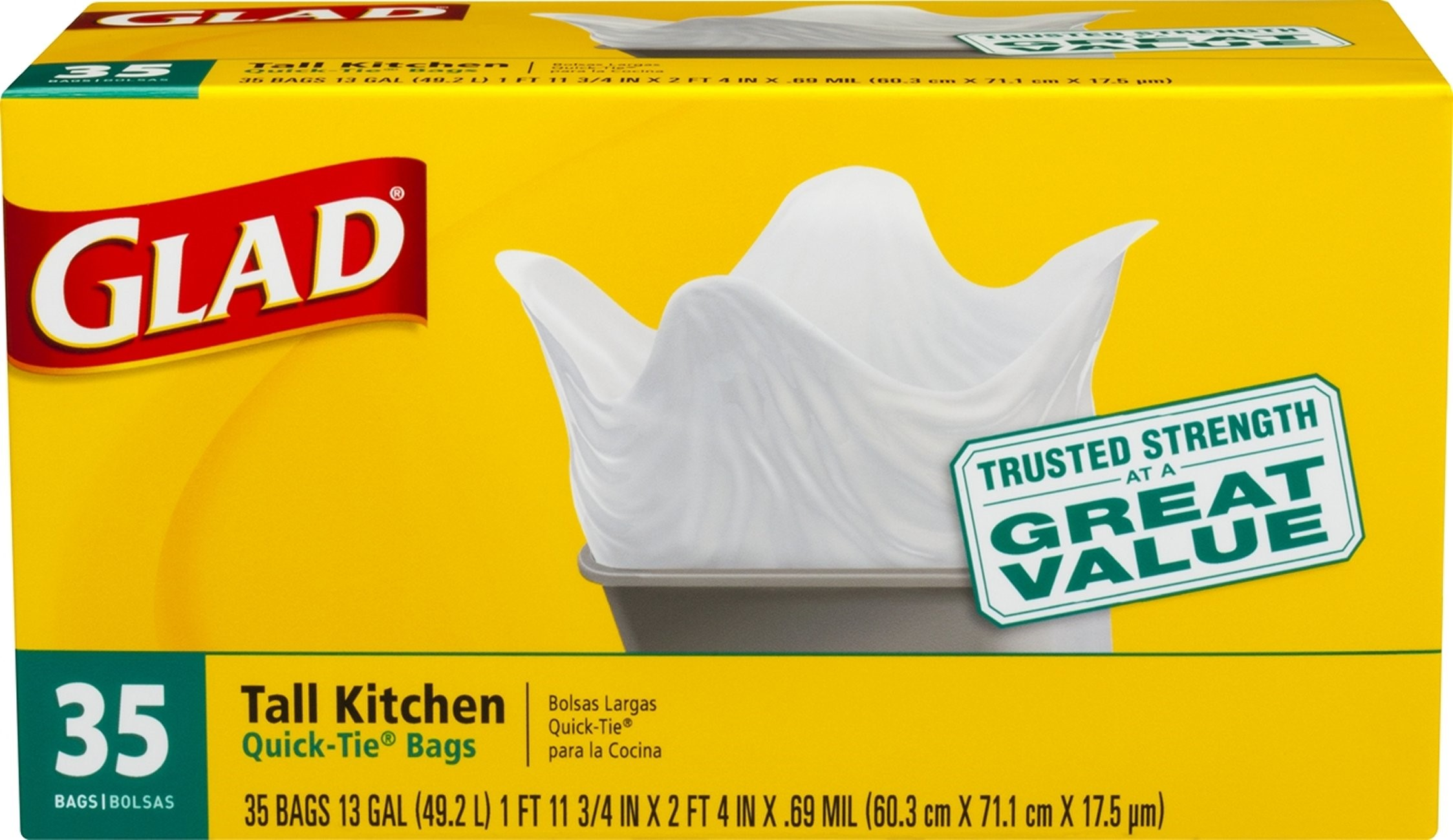 glad kitchen bags appliences tall 13 gallon 35 walmart com