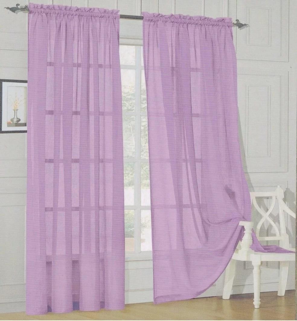 elegant comfort 2 piece solid sheer panel with rod pocket window curtain 40 inch width x 84 inch length lavender walmart com