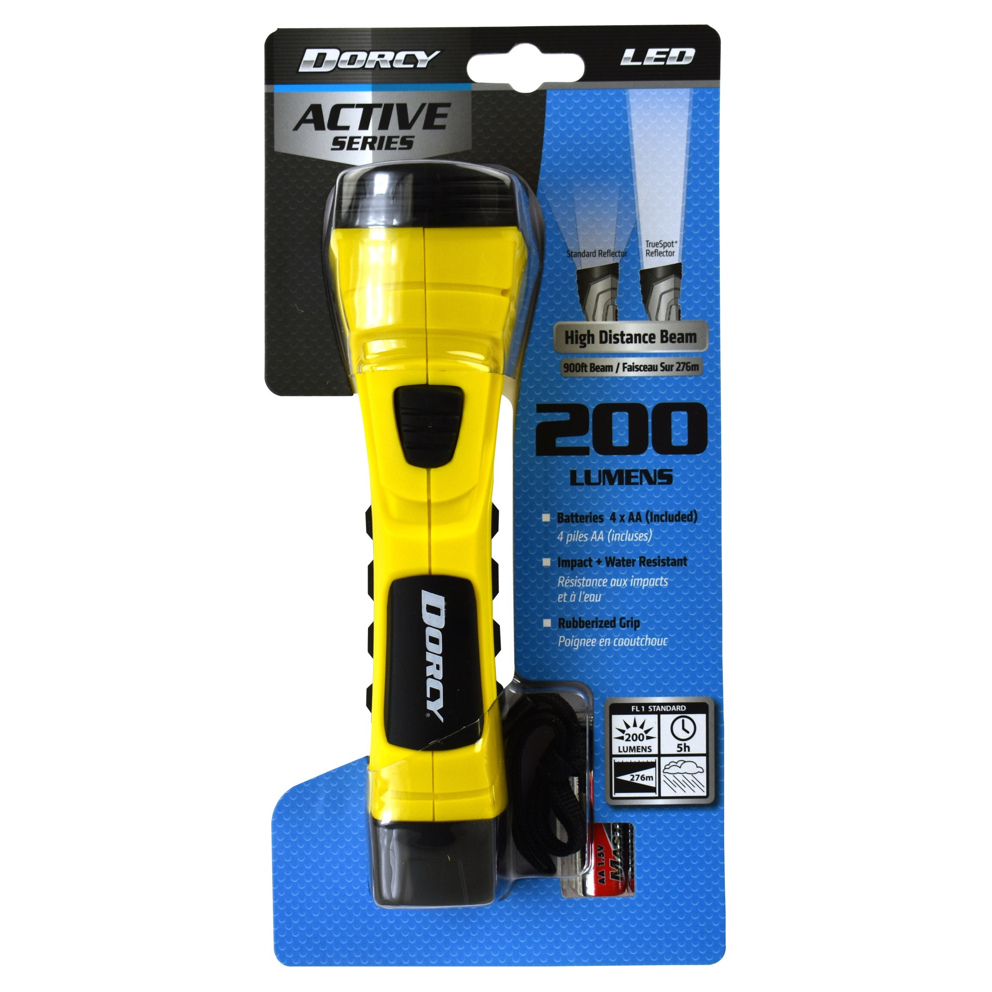 hight resolution of dorcy 190 lumen cyberlight durable led flashlight with true spot reflector yellow walmart com