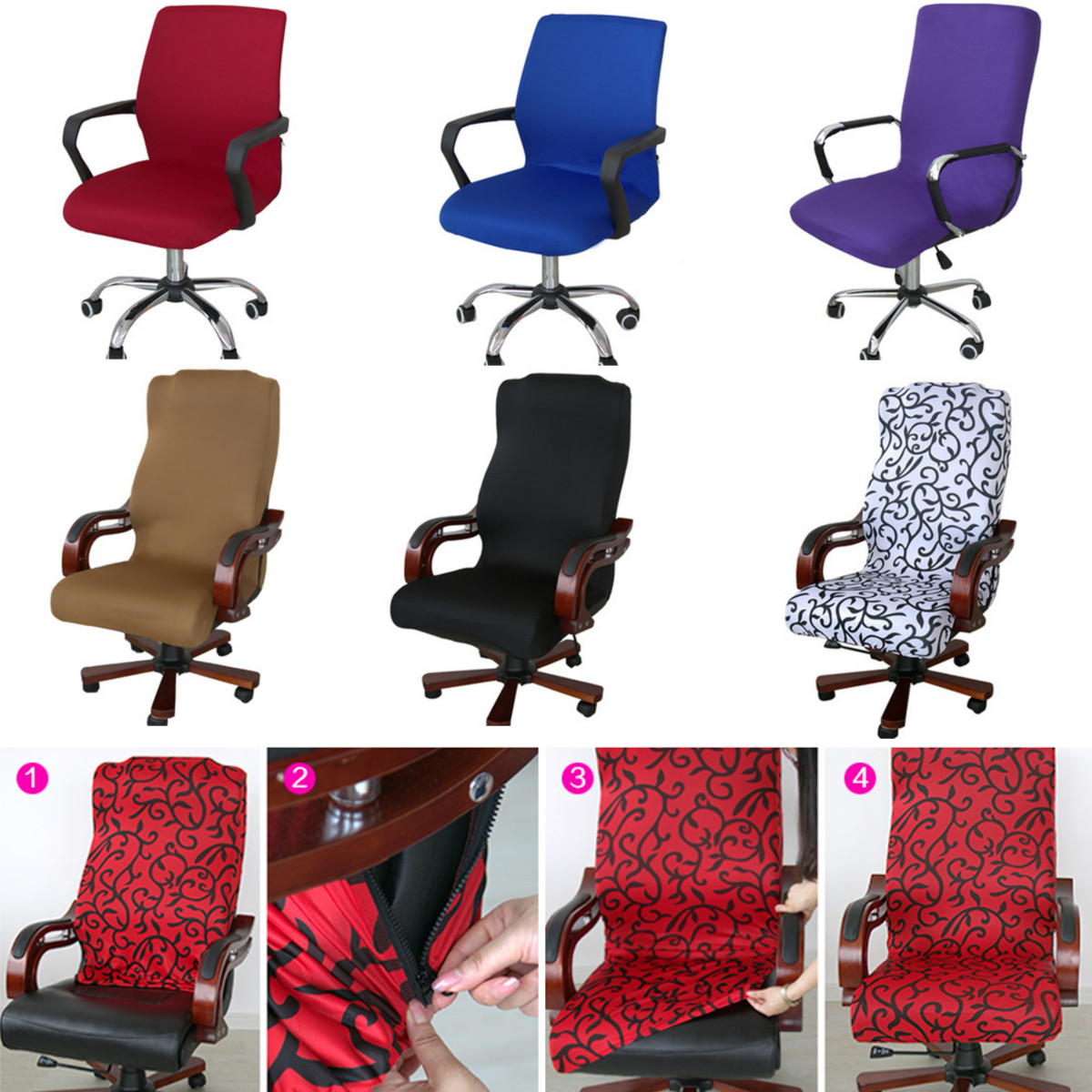 lift chair covers walmart desks and chairs office computer seat cover side zipper design arm protector recouvre chaise stretch rotating decoration