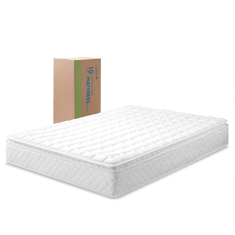 slumber 1 by zinus dream 10 pillow top spring mattress twin