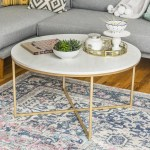 Daisy Faux Marble And Gold Round Coffee Table By Desert Fields Walmart Com Walmart Com