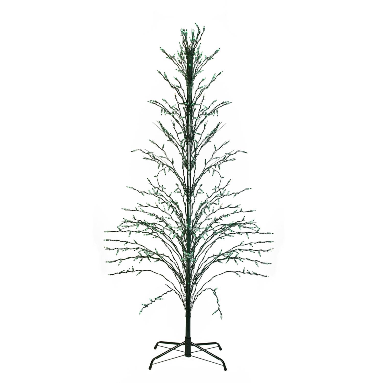 9 Green Lighted Christmas Cascade Twig Tree Outdoor Yard