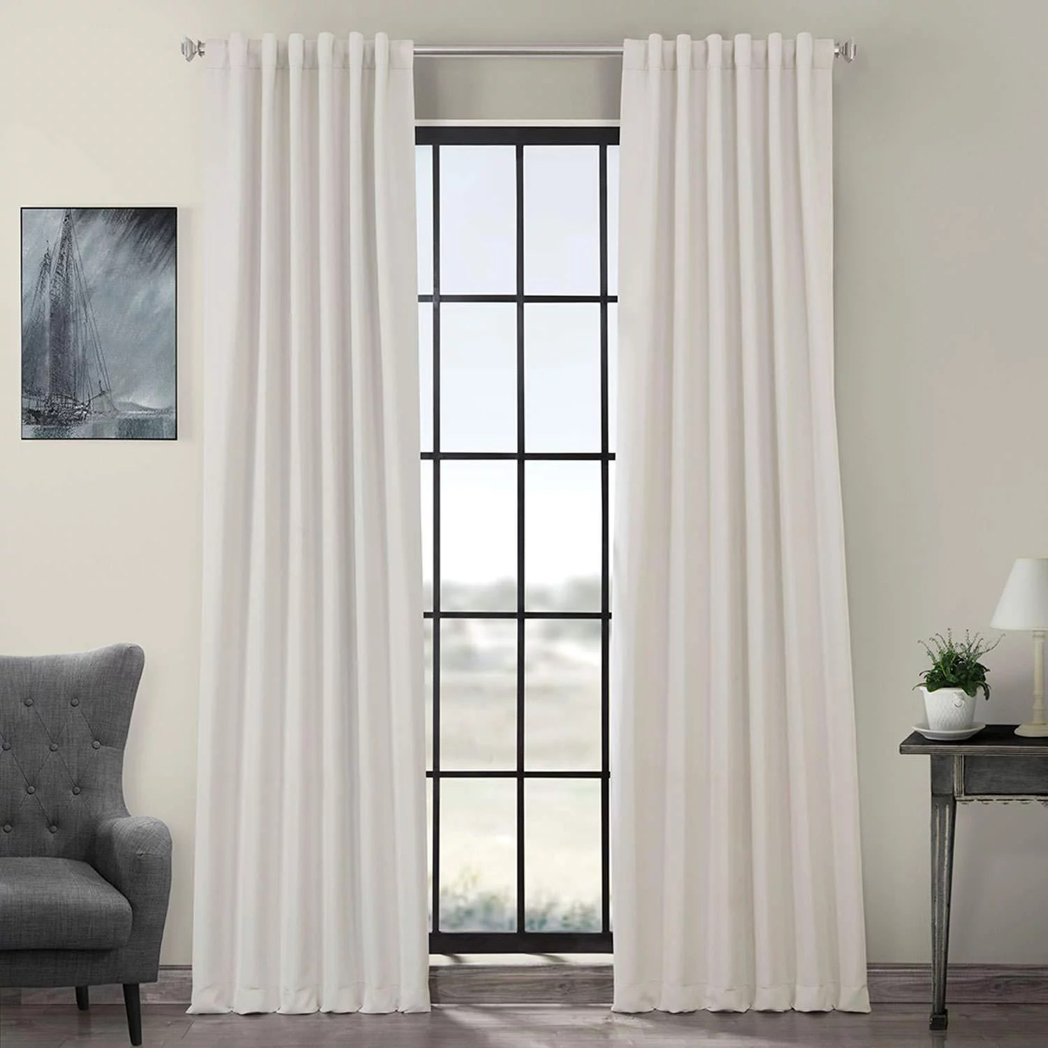 exclusive fabrics furnishings blackout 50 inches x 96 inches curtain panel smokey cream
