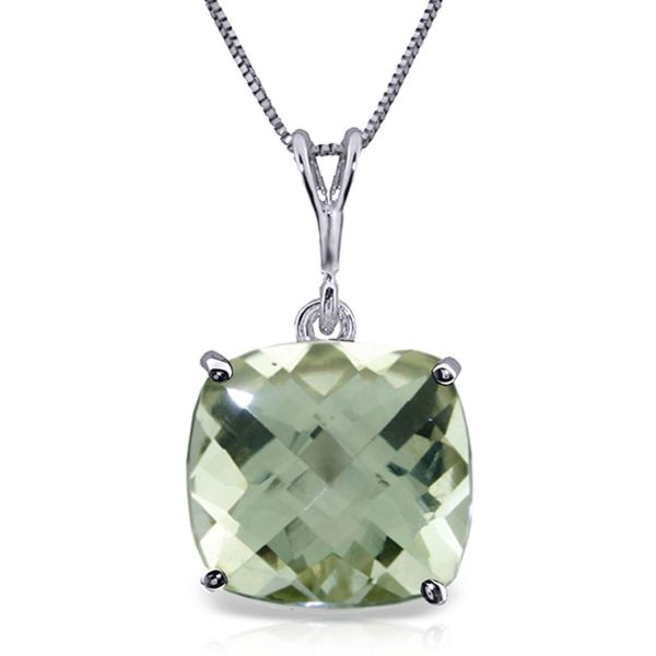 Alarri 3.6 Ctw 14k Solid White Gold Necklace Natural Checkerboard Cut Green Amethyst With 20