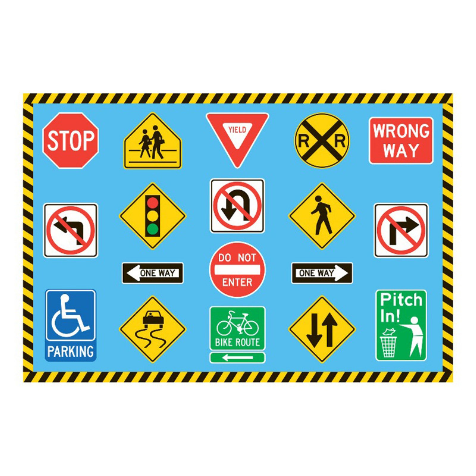 Fun Rugs Traffic Signs Kids Rug Blue