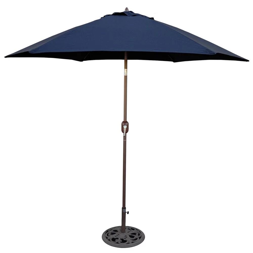 tropishade 9 ft aluminum bronze patio umbrella with navy cover