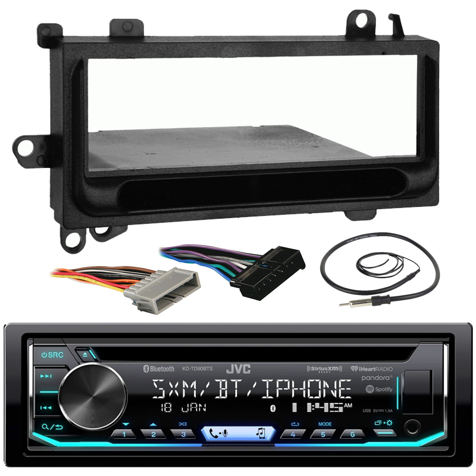 hight resolution of jvc kd td90bts car cd mp3 ipod bluetooth stereo receiver bundle combo w metra installation kit for 1974 and up chrysler dodge jeep cars radio wiring