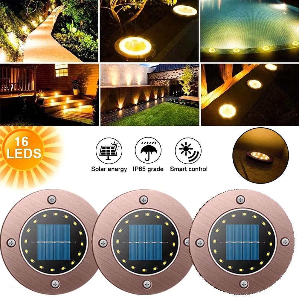 eimeli solar ground buried lights 16led solar garden lights outdoor disk lights waterproof in ground outdoor landscape lighting for lawn patio
