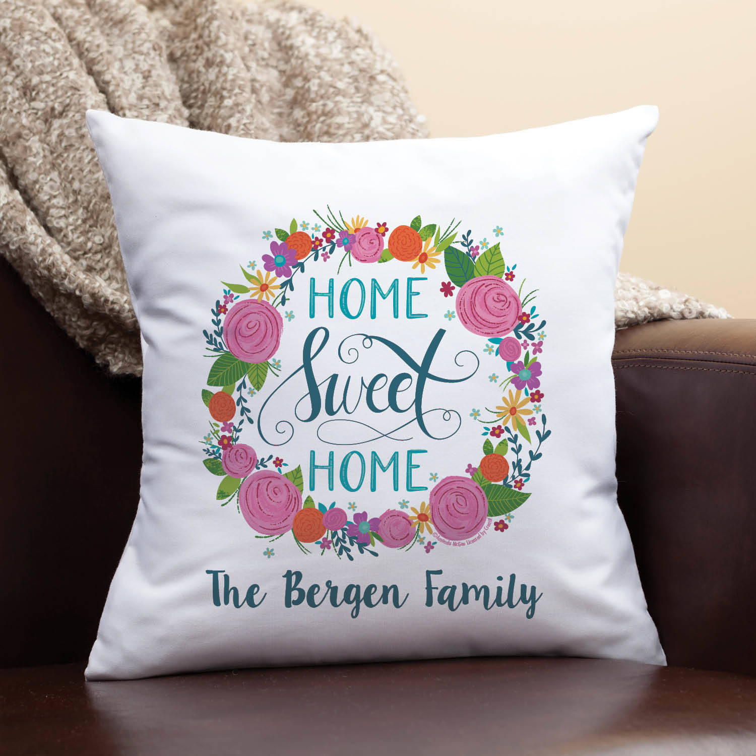 personalized throw pillow mcgee home sweet home