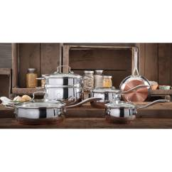 Kitchen Pot Sets Baby Pink Appliances The Pioneer Woman Copper Charm 10 Piece Stainless Steel Bottom Cookware Set Walmart Com