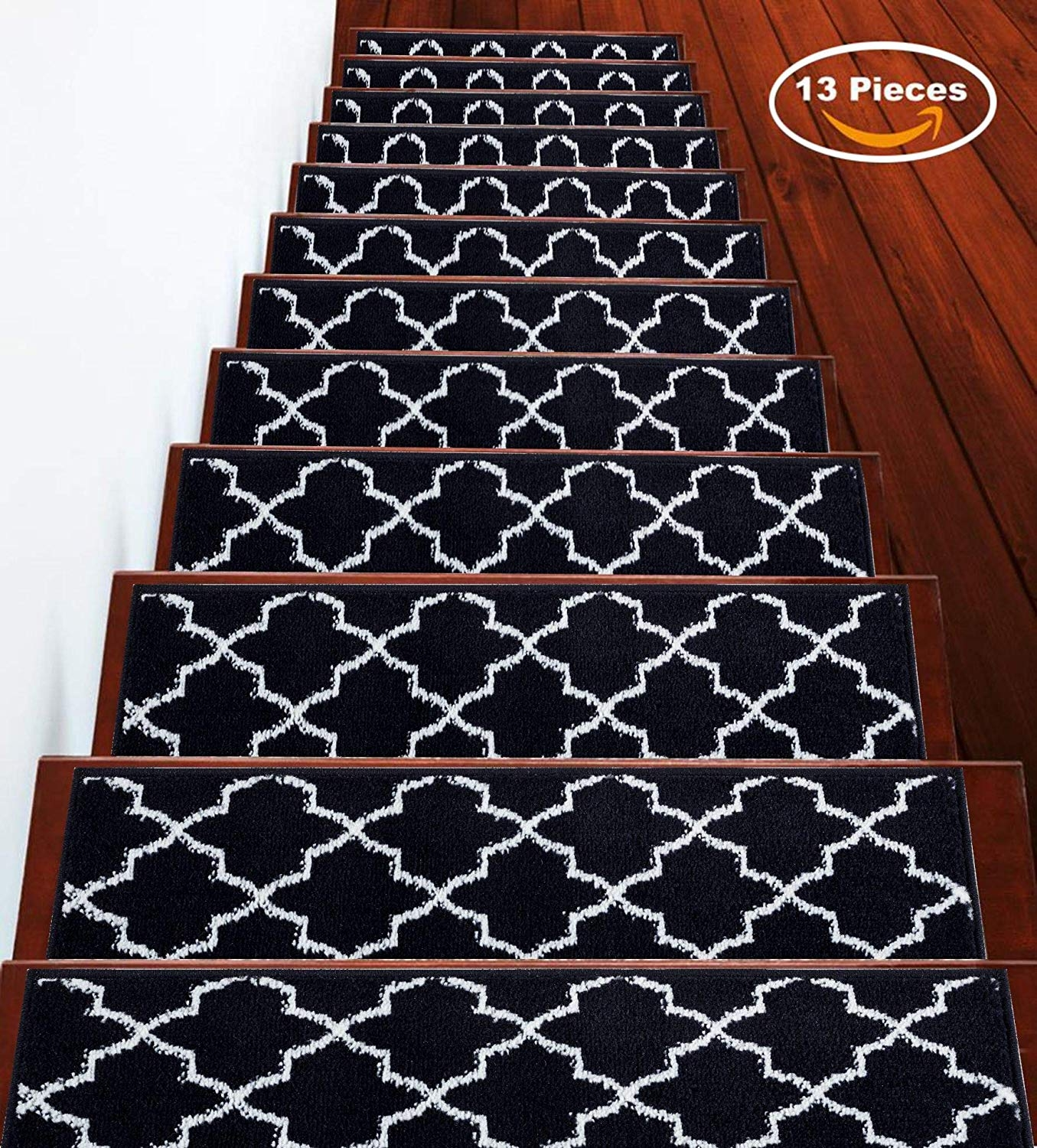 Sussexhome 7 Set Stair Treads Stairs Slide Carpet Stair Tread   Durable Carpet For Stairs   High Traffic   Flower Design   Low Pile   Masland   Stair Treads