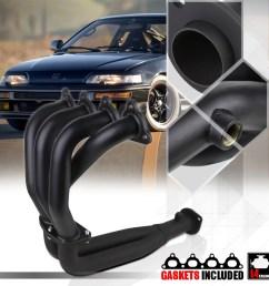 black 4 2 1 exhaust header manifold for 88 00 civic crx del sol d series d15 d16 89 90 91 92 93 94 95 96 97 98 99 walmart com [ 1000 x 1000 Pixel ]