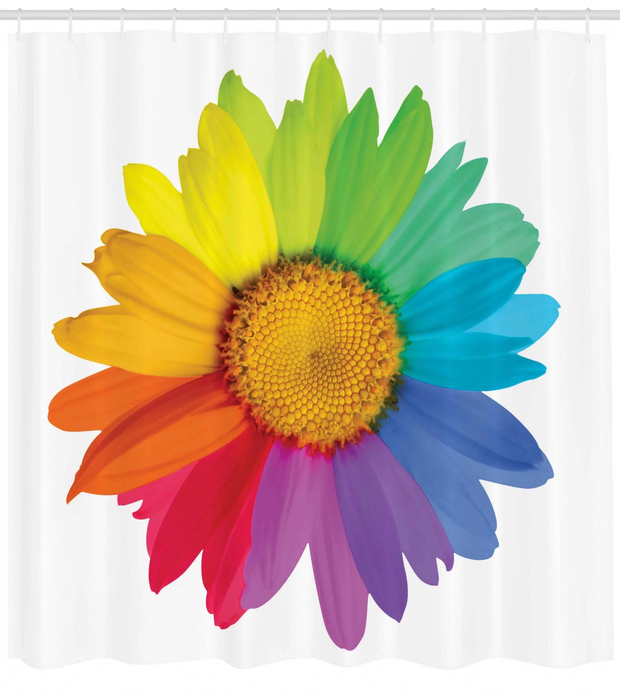 flower shower curtain rainbow