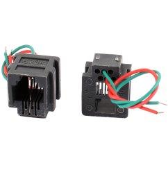 8 pcs rj11 6p2c 6 position pcb gray network modular female connector w 2 wires [ 1100 x 1100 Pixel ]