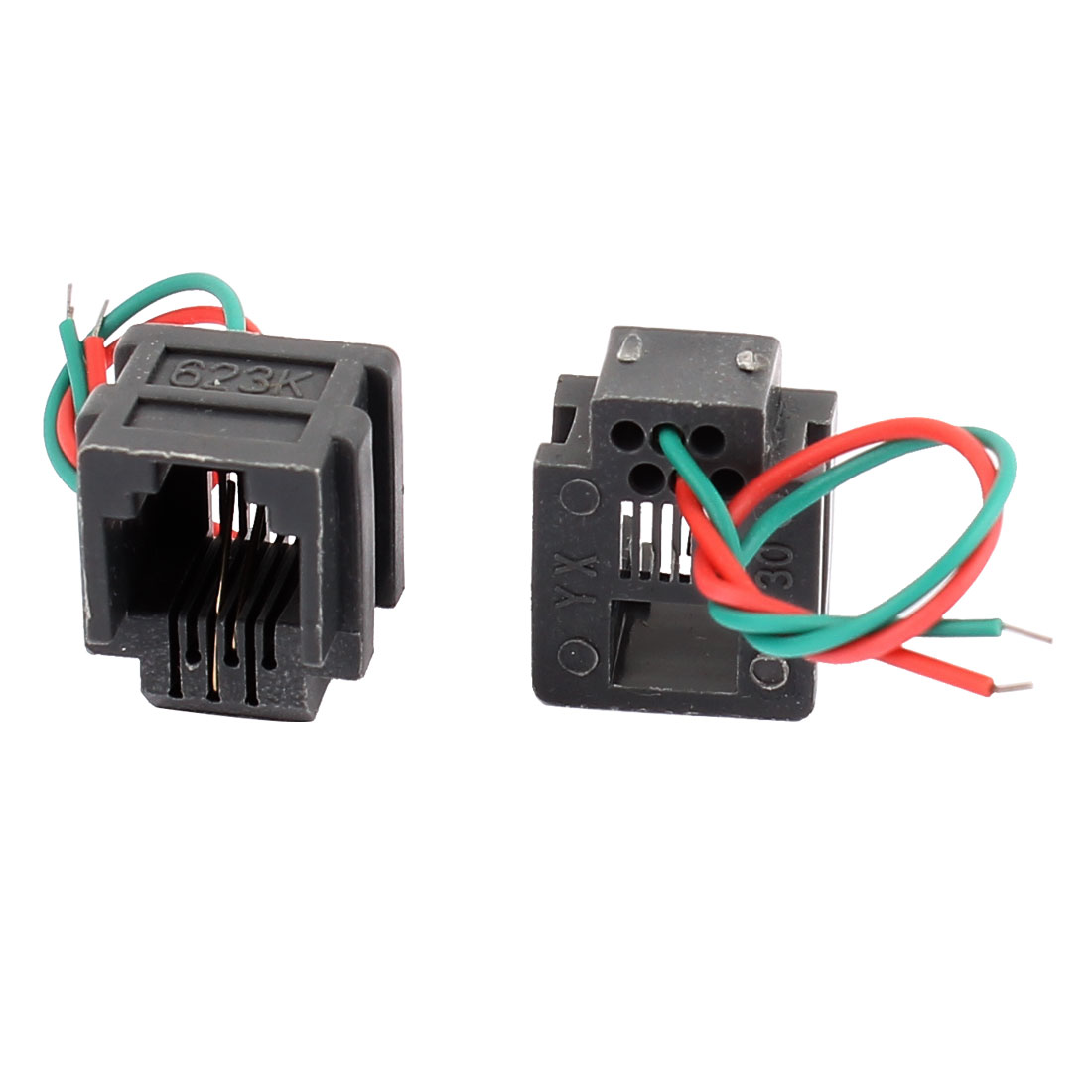 hight resolution of 8 pcs rj11 6p2c 6 position pcb gray network modular female connector w 2 wires