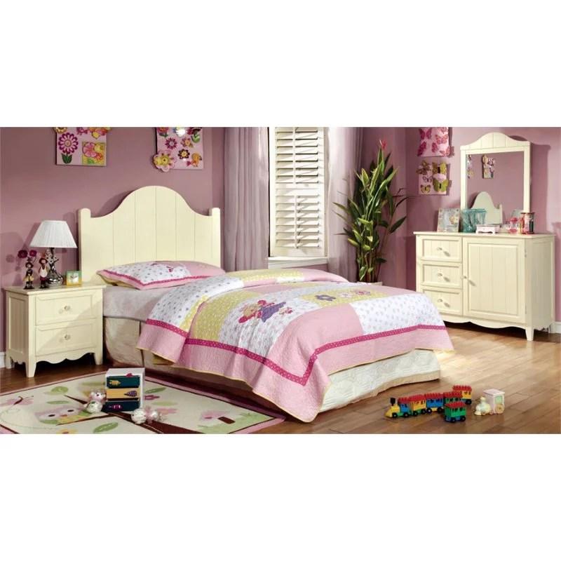 foa adalyn 4pc cream wood kids bedroom set twin nightstand dresser mirror