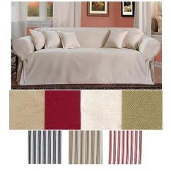 Khaki Sofa Slipcovers Loungers Brushed Twill Slipcover Khaki/white Stripe - Walmart.com