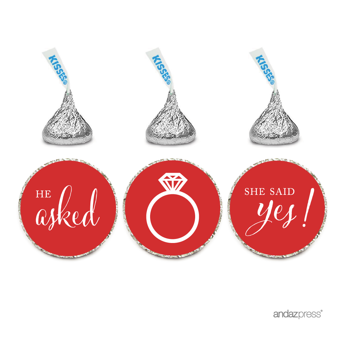 Red He Asked She Said Yes Hershey S Kisses Stickers 216