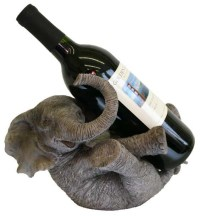 Big Happy Elephant Hand-Finished Wine Bottle Holder with ...