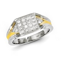 Sterling Silver With 10k Gold Diamond Mens Ring - Ring ...