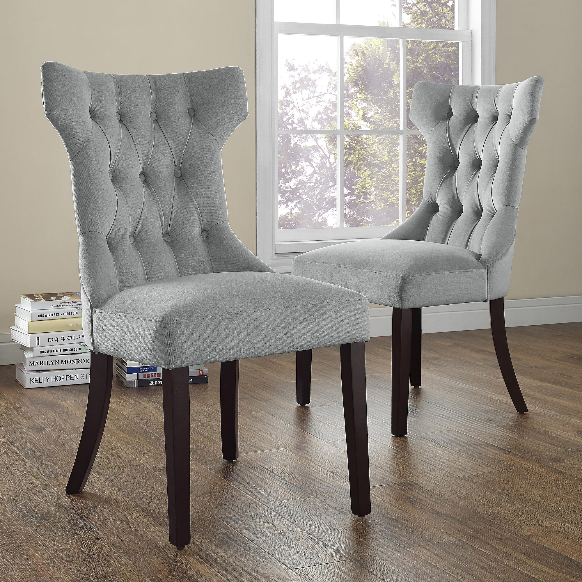 Upholstered Living Room Chairs Dorel Living Clairborne Tufted Upholestered Dining Chair Set Of 2