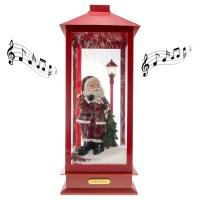 Snow Blowing Christmas Indoor Lantern Music Box Santa