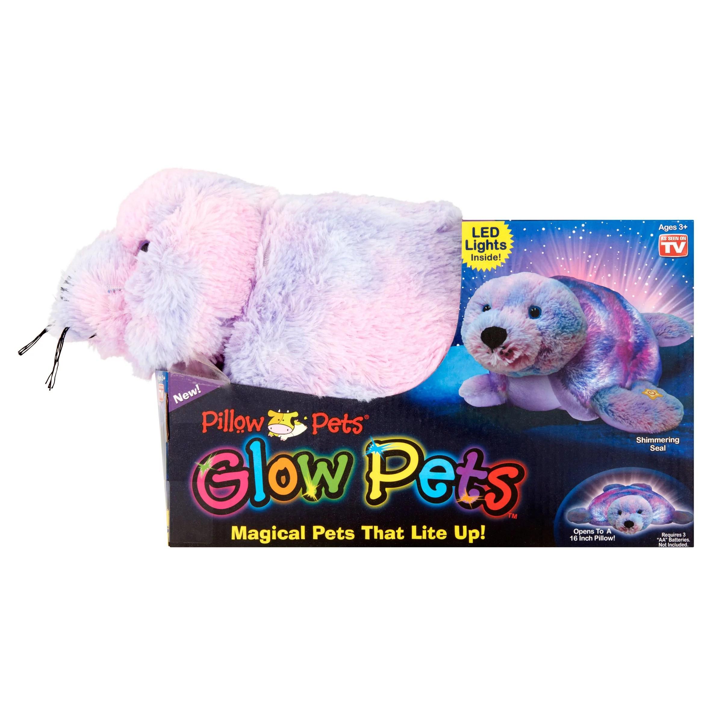 pillow pets shimmering seal glow pets walmart com