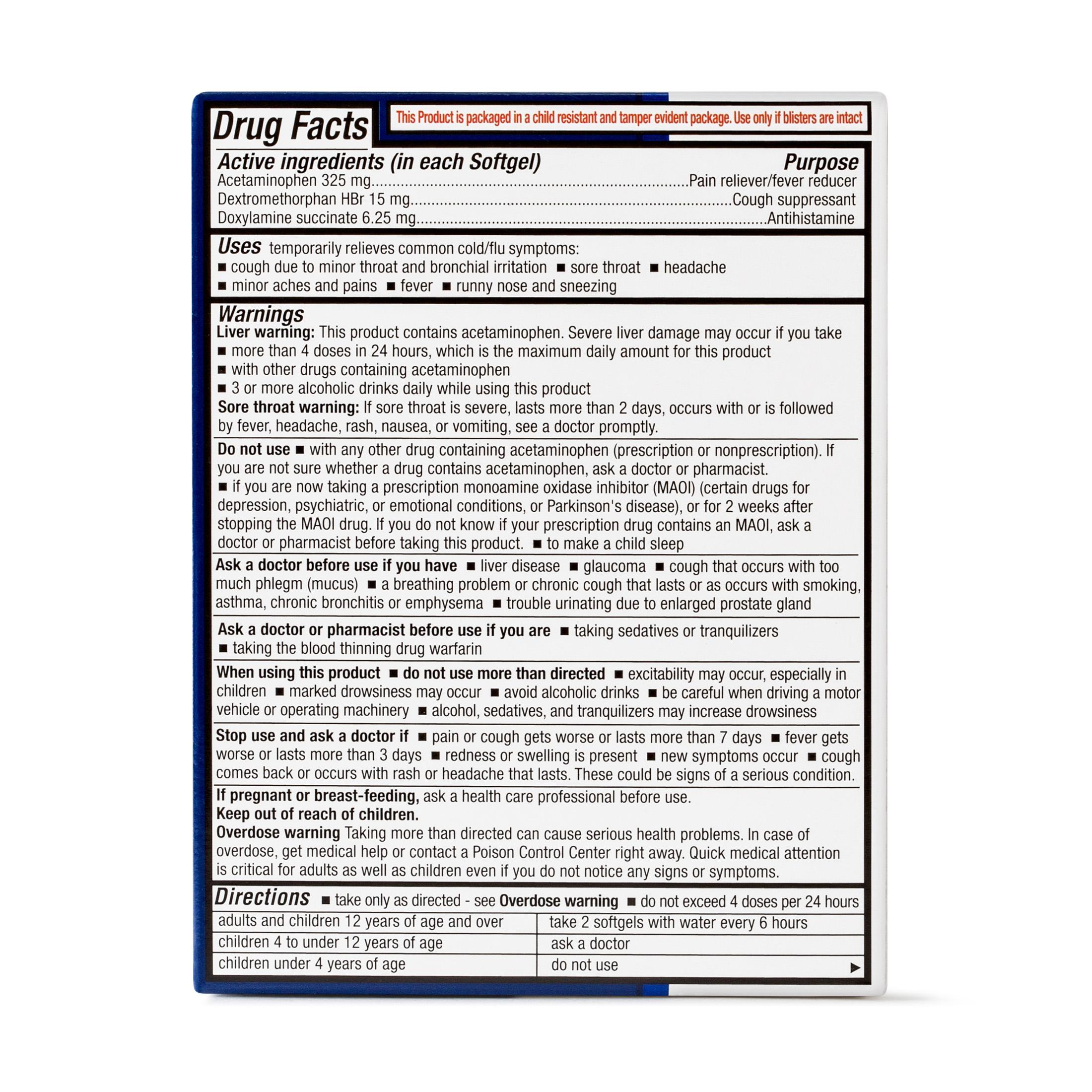 Equate NiteTime Cold Flu Multi Symptom Acetaminophen