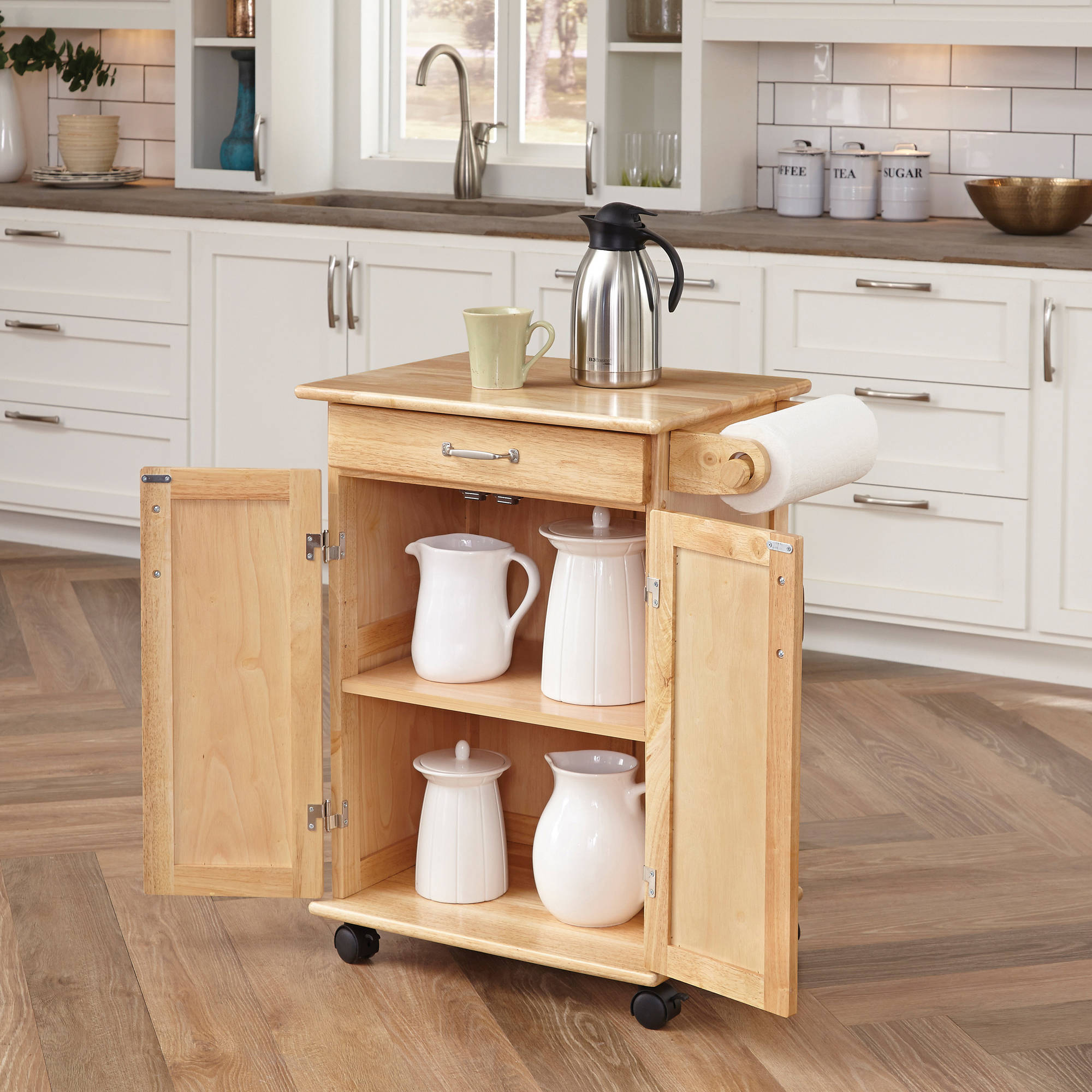 home styles solid wood kitchen cart natural