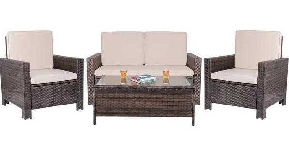 walnew 4 pieces outdoor patio furniture sets rattan chair wicker conversation sofa set outdoor indoor backyard porch garden poolside balcony use
