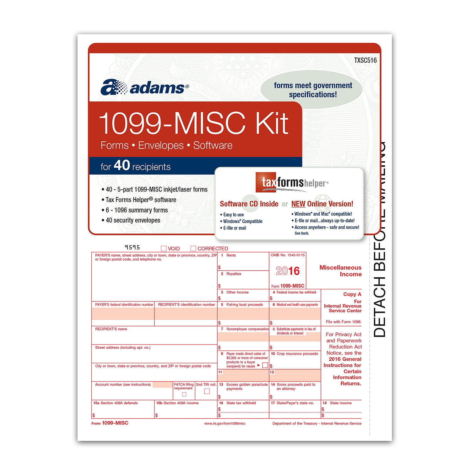 Adams Misc Tax Forms Software Kit