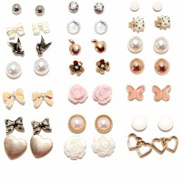 Flowers and Bows Assorted Stud Fashion Earrings, Set of 21 ...