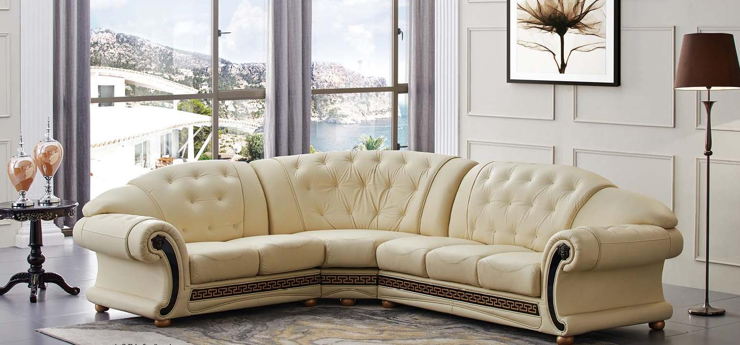 sectional ivory genuine top grain italian leather sectional sofa left apolo