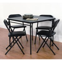 Mainstays 5 Piece Card Table and Chair Set, Black ...