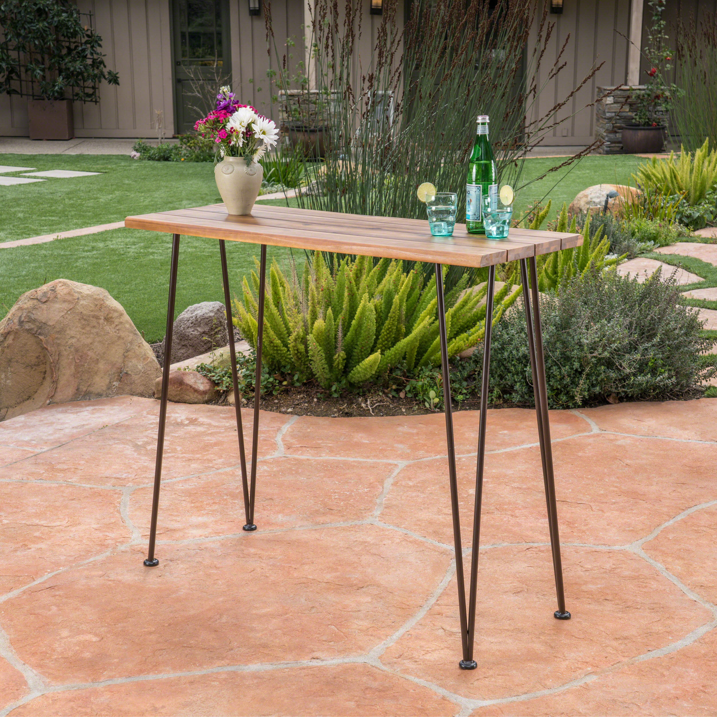 daniel outdoor industrial teak finished acacia wood bar table with rustic metal finished iron frame walmart com