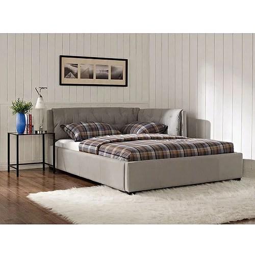 lounge upholstered full bed stone