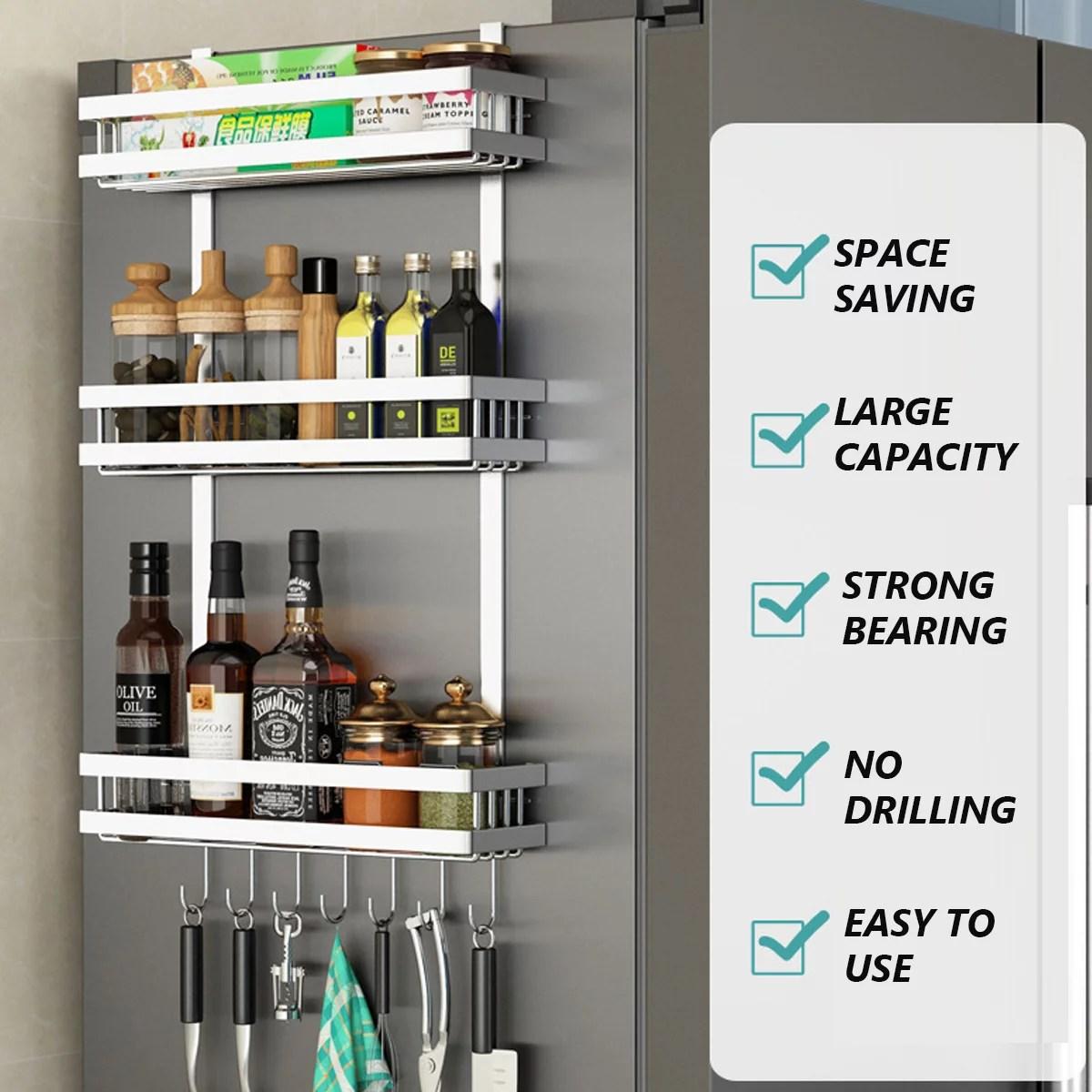 kitchen refrigerator side shelf storage organizer rack fridge spice rack storage shelves w 7 hooks space saving walmart com