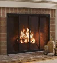 Fireplace Screen with Sliding Doors, 38'' x 31'', Bronze ...
