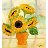 Buy Art For Less 'Sunflowers in a Yellow Vase in the