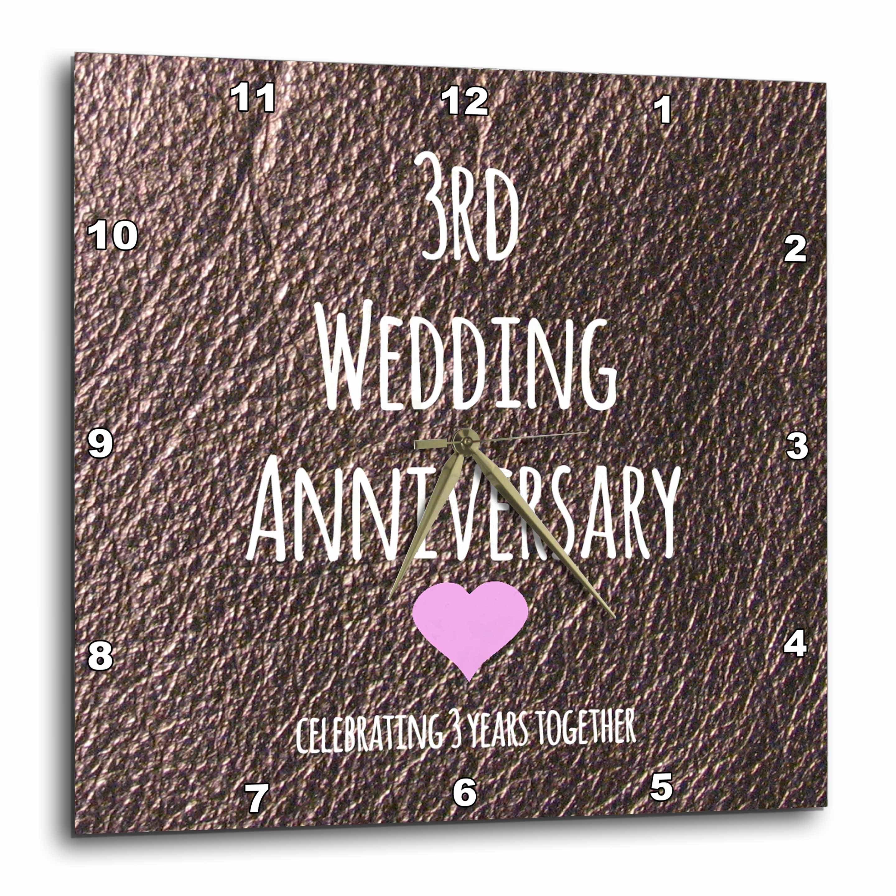 3dRose 3rd Wedding Anniversary gift  Leather celebrating 3 years together third anniversaries