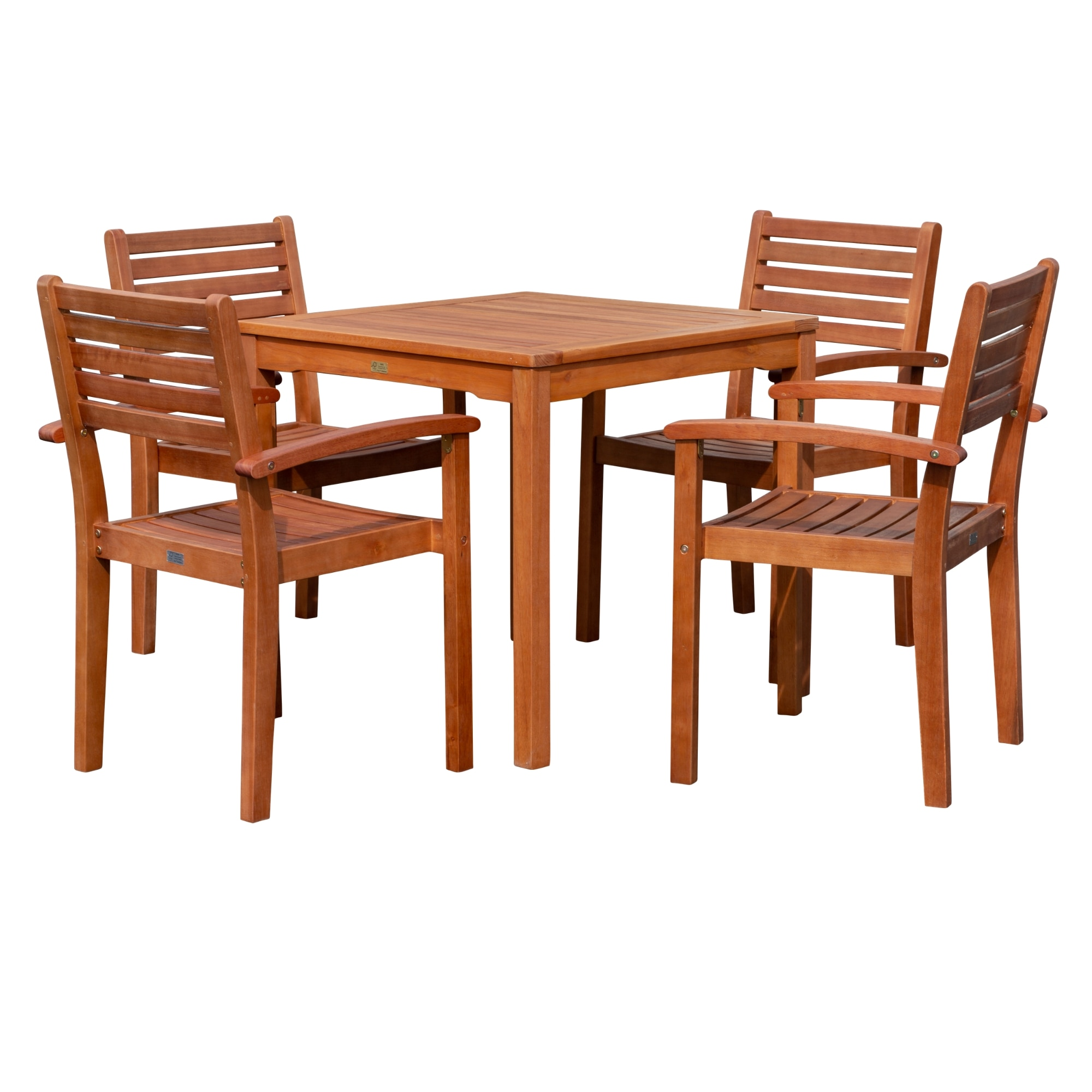 dty outdoor living leadville square dining set 5 piece eucalyptus patio furniture set with table and 4 stacking chairs natural oil finish
