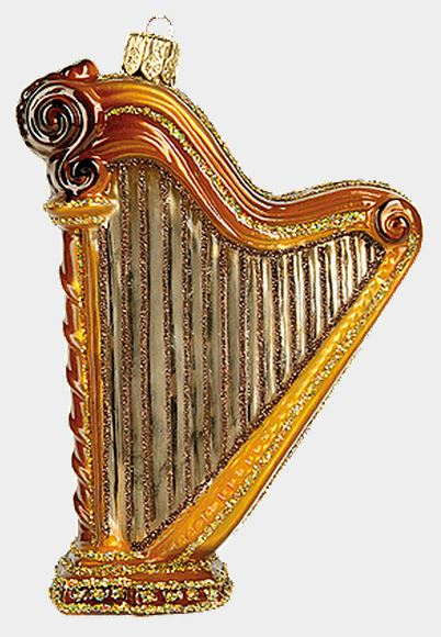 Harp Polish Blown Glass Christmas Ornament Musical