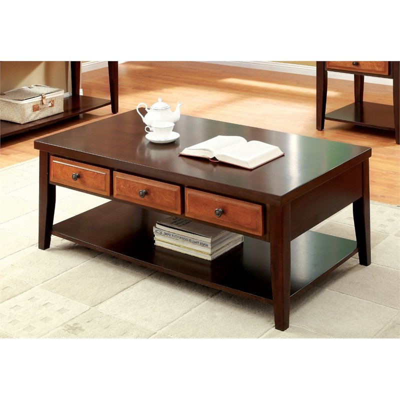 furniture of america devonne solid wood 3 drawer coffee table in oak and cherry