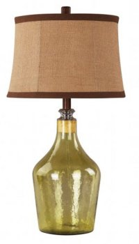 """28"""" Rancho Golden Green Fillable Glass Table Lamp with ..."""