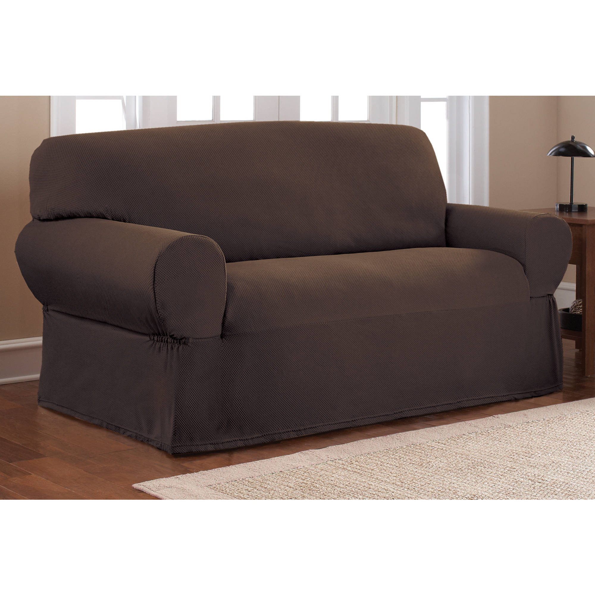 sure fit stretch metro 1 piece sofa slipcover gray small narrow product features