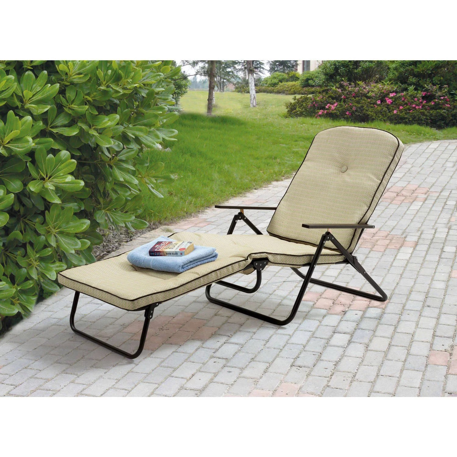 folding outdoor lounge chair swivel aldi mainstays sand dune padded chaise tan