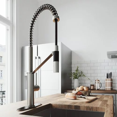 vigo kitchen faucet viking kitchens livingston magnetic with deck plate stainless steel walmart com