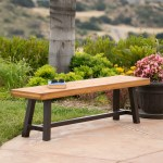 Colonial Outdoor Acacia Wood And Rustic Metal Bench Sandblast Finish Walmart Com Walmart Com
